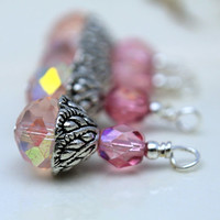 Pale Pink Multifaceted Rondelle Crystal and Dark Pink AB Czech Bead Dangle Charm Drop Set