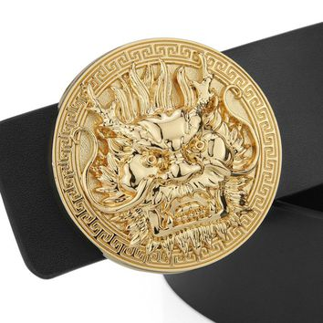 High Quality Casual Dragon Belt Luxury Genuine Leather Designer Belt Men Black Fashion Cowhide Golden Round Buckle Wide Belt