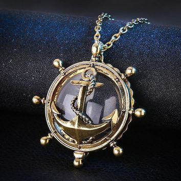 Vintage Magnifiers Magnifying Glass Pendant Necklace summer ocean style Anchor Magnifying Gold Chain Gifts 3.5cm Pendant Alloy