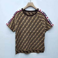 Fendi Women Short Sleeve Bowknot Top