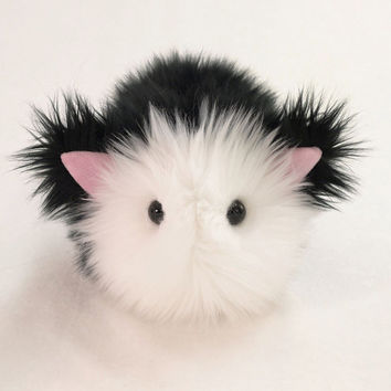 Tuffy Tuxedo Kitty Cat Black and White Stuffed Animal Toy Plushie - 5x8 Inches Medium Size