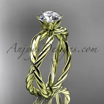 14kt yellow gold rope engagement ring RP870