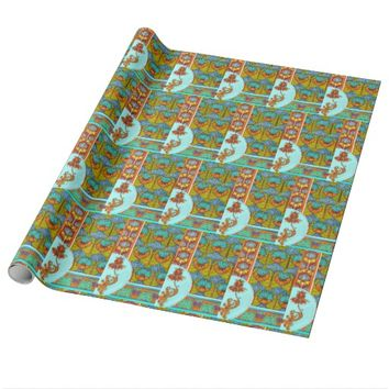 Art nouveau orange and turquoise floral wrapping p wrapping paper