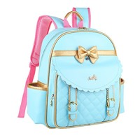 CrazyPomelo Golden Bowknot Princess PU Backpack for Primary School Girls