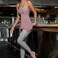 BLUSH Embellished neck halter top, lace leggings, heels, bracelet from VENUS