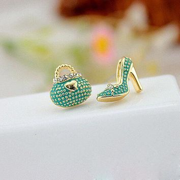 Earrings | Green Bags Heels Shoe Asymmetric Earrings