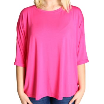 French Rose Piko Loose Sleeve Top