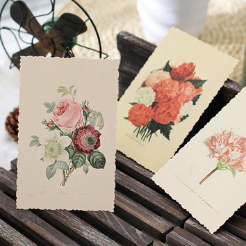 30 Pcs/set Vintage Flower Card Postcard Diy Greeting Card Note Cards Bookmark Gifts Office And School Stationery Free Shipping