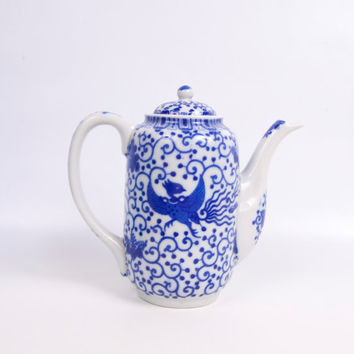 Vintage Blue and White Porcelain Chocolate Pot Blue Phoenix Flying Turkey Teapot Coffee Pot