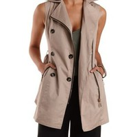 Tan Double-Breasted Zip-Up Trench Vest by Charlotte Russe