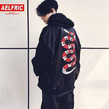 Trendy AELFRIC Mens Coats and Jackets Embroidery Snake Ma1 Bomber Jacket Thin Women Men Hip Hop Fashion Streetwear Us Size Xs-XL TR05 AT_94_13