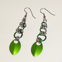 Handmade Green Leaf Dangle Chainmaille Earrings...SRAJD