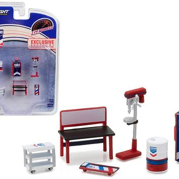 Greenlight Muscle 6pc Set Shop Tools Standard Oil 1:64 by Greenlight