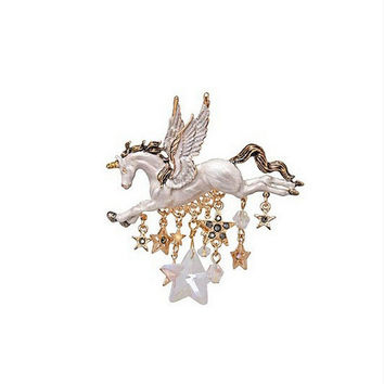 Unique Flying Unicorn rhinestone brooch, Magical Jewelry, Vintage brooch