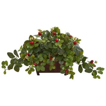 Artificial Plant -Strawberry Plant in Decorative Planter