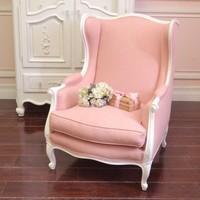 Sweet Chic Pink Linen Vintage French Style Wingback Chair