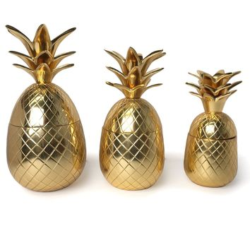 Warm Welcome Golden Pineapple Canisters (Set of 3)