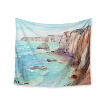 "Cyndi Steen ""Cliffs At Normandie"" Blue Travel Wall Tapestry"
