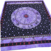 Horoscope Zodiac Sign Celestial Indian Tapestry