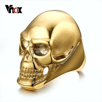 Vnox Big Skull Rings for Men Punk Rock Male Boy Ring for Halloween Party Hip-hop Ceremony Jewelry