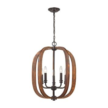 Wood Arches 5 Light Chandelier In Oil Rubbed Bronze