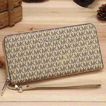 MK Trending Ladies Leather Zipper Signature Wallet Purse Handbag Beige I