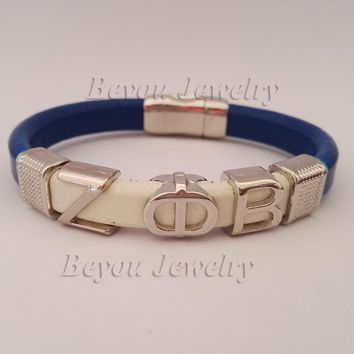 Customized ZETA PHI BETA  Leather Magnetic  Bracelet