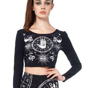 Jawbreaker Gothic Occult Astrology Wicca Witch Cropped Top Shirt (L)