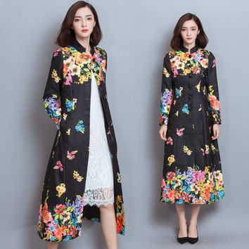 Autumn Elegant Women Slim Fit Single-breasted Floral Print Mandarin Collar Long Sleeve Trench Coat