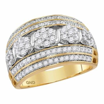 14kt Yellow Gold Women's Round Diamond Flower Cluster Fashion Band Ring 1.00 Cttw - FREE Shipping (US/CAN)
