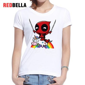 Tshirt Womens Marvel Riding Rainbow Woman T-Shirts Cartoon Tumblr Tshirts Cotton Print Casual  Short Femme Clothing Female Tops