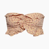 Work It Smocked Strapless Crop Top - Fantasy Ditsy Peach Petal Print