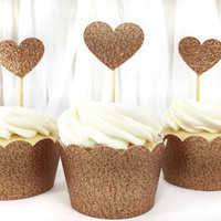 Copper Glitter Heart Cupcake Toppers - 12 Small - Party Supplies // Wedding Decorations // Birthday Party