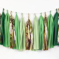 Ombre Green Tassel Garland - Party Decoration // Wedding Decor // Kids Room Decoration