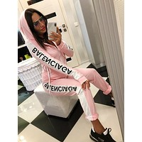BALENCIAGA Fashion Women Casual Zipper Jacket Coat Top Pants Set Two-Piece Sportswear Pink