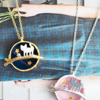 Kawaii Kitty Cat in Planet Necklace from Sandysshop