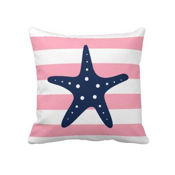 White Blue & Pink Wide Stripes Pattern Starfish Pillow from Zazzle.com