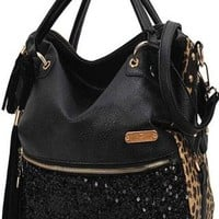 Tassels Sequined Leopard Handbag  from styleonline