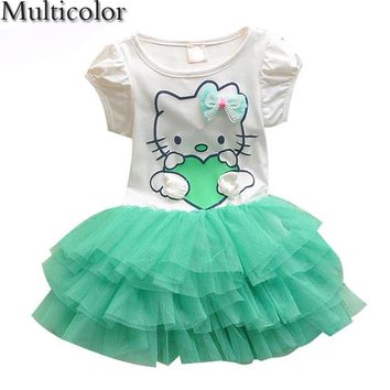 2017 Hot Summer Girls Dress Hello kitty Cartoon KT wings TUTU Dress Bow Veil Kids lovely Children Baby Clothing Fashion Dresses