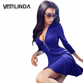 VESTLINDA Sexy Skater Dress Summer Women Zipper Dress Deep V Neck  A Line Mini Short Vestido De Festa Sexy Club Party Dresses