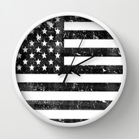 Dirty Vintage Black and White American Flag Wall Clock by RexLambo