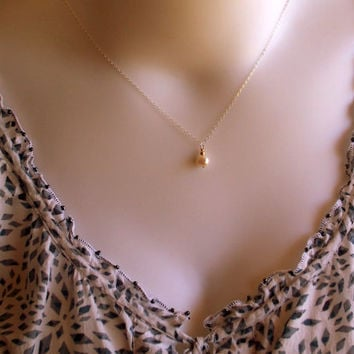 Pearl Mix - Sterling Silver And Gold Dainty Pearl pendant Necklace