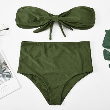 Summer New Fashion Solid Color Strapless Two Piece Bikini Army Green