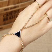 Gold Stone Triangle Double Finger Ring Bracelet