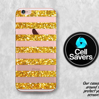Gold Glitter Stripes Clear Case iPhone 7 iPhone 6s iPhone 6 iPhone 6 Plus iPhone 6s + iPhone 5c iPhone 5 iPhone SE Sparkle Cute Tumblr