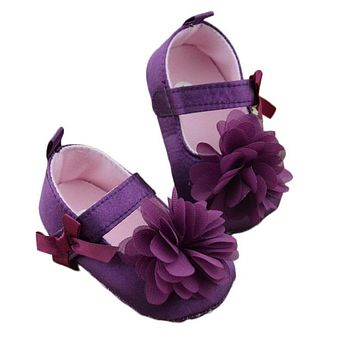 Toddler Kids Girls Shoes Bowknot Flower Sole Walking Shoes