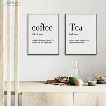 Modern Black White Food Coffee Quotes A4 Posters Nordic Kitchen Living Room Wall Art Picture Home Decor Canvas Painting No Frame 1 2