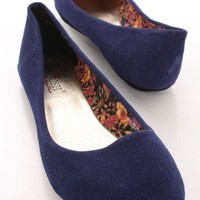 Navy Rough Faux Suede Closed Toe Flats