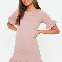 Missguided - Rose Pink Frill Detail Shift Dress