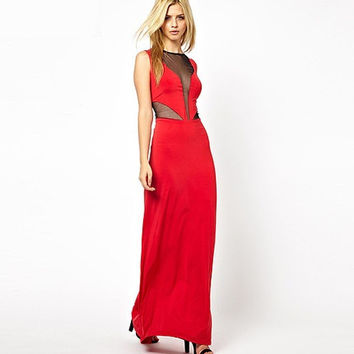 Red Mush Sleeveless Maxi Dress